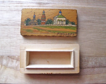 Vintage Wood Box Made in USSR Buildings Hand painted and Carved