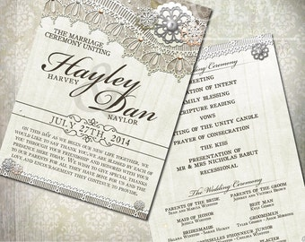 Rustic White Wood Lace Weddinbg Program. Rustic White Wood and lace wiht flowers 5x7