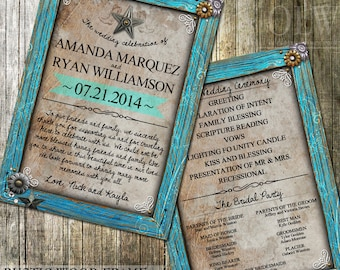Country Rustic wedding Program, Rustic Wood Printable Program, Wedding Printable, Turquoise, Rustic Wedding, Print yourself Digital File