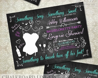 Rustic Chalkboard Lingerie Shower Bachelorette Party Invitation Bridal Shower Invite DIY Party Invite Printable Invitation