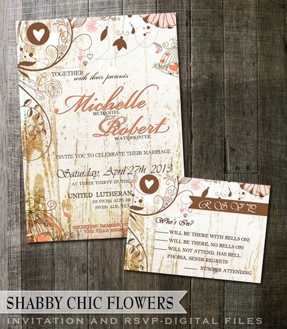 Rustic Wedding Invitation and RSVP-Shabby Chic Fancy Flourishes on White Wood Background wedding invite digitable printable