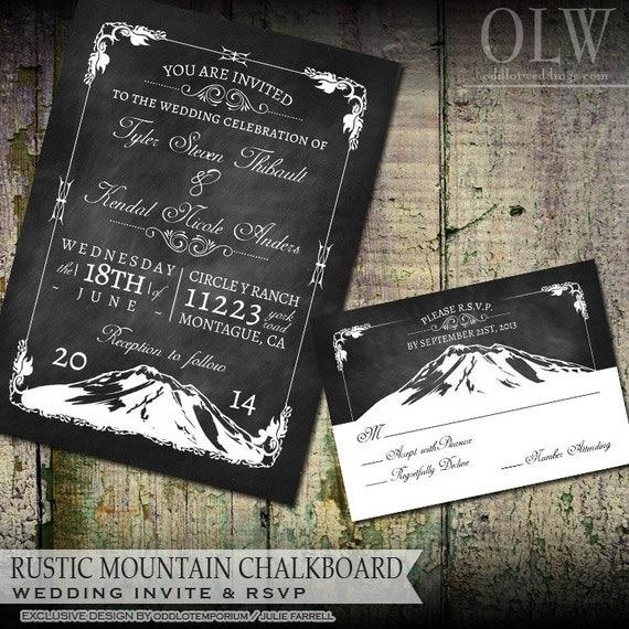mountain wedding invitation set printable rustic outdoor