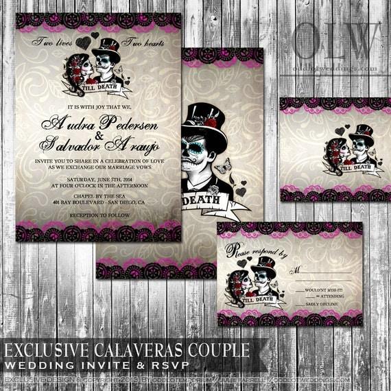 day of the dead wedding invitation and rsvp set dia de los,