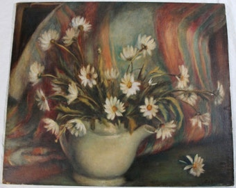 20x24 Signed Floral Painting Still Life Daisies in Teapot Flowers