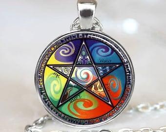 Pentagram Pendant, Pentagram Necklace, Pentagram Jewelry, Wiccan Necklace, Wiccan Pendant, Wiccan Jewelry, Astrology Pendant (PD0236)