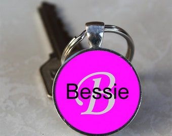 Bessie Name Monogram Handcrafted Glass Dome Keychain (GDNKC0324)