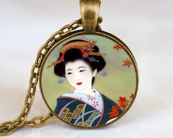 Japanese Geisha Pendant, Japanese Geisha Necklace, Japanese Geisha Jewelry, Bronze (PD0156)