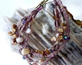 Bracelet in Shades of Pink, Purple and Mauve, with Pearls, Crystals and Glass Beads