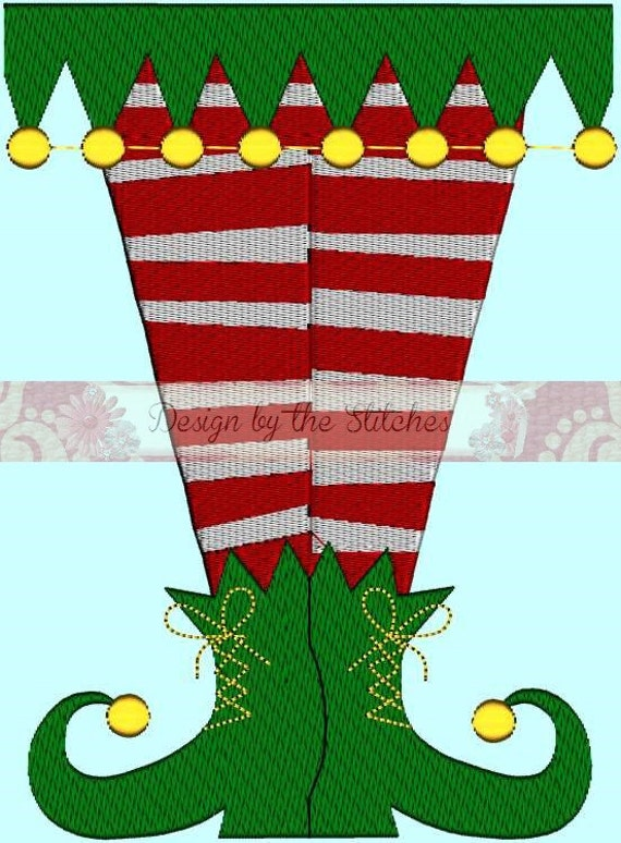 Elf Legs Socks Christmas Holiday INSTANT DOWNLOAD  Embroidery Design Pattern 3 hoop sizes