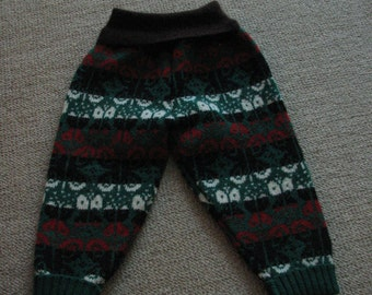 Upcycled Wool Longies / Pants - Size  12 Month to 2 Years.