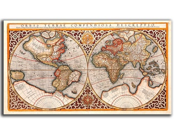 9x16'' (22x40cm) Canvas Print Red - Orbis Terrae Compendiosa Descriptio, 1587, Vintage World map Christmas Gift for Him Educational board