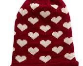 cute Beanie, Red Knit  Hat, gift under 20,Heart Knit Beanie Hat,winter hat,  Woman Boho Style Hat  - By PiYOYO
