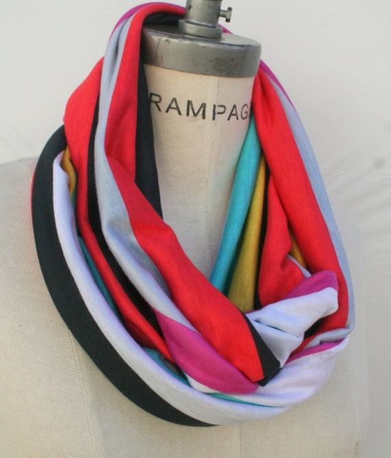 Color Block  Infinity Scarf Retro Scarfs Gift for Best Friend Best Selling Item- By PIYOYO