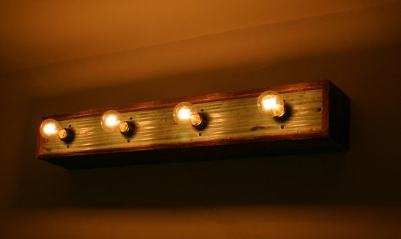Benoist Reclaimed Wood Vanity Mirror: Reclaimed Barn Wood & Copper Vanity Light By SArchWorks On