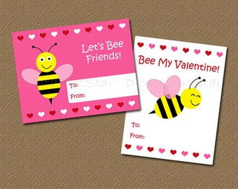 Printable Valentine's Day Cards for Kids - DIY Bumble Bee Cards - Bee My Valentine - INSTANT DOWNLOAD