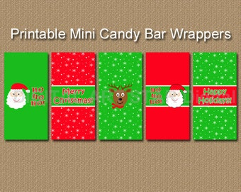 Printable Christmas Candy Wrappers - Candy Bar Wrappers - DIY Holiday Party Favors - Santa, Reindeer Stocking Stuffers - INSTANT DOWNLOAD C4