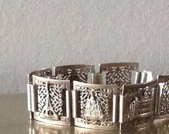 SALE Vintage French Silver Souvenir Paris France Charm Bracelet