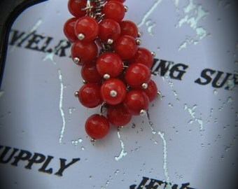 Genuine Solid Sterling Silver Cascading 4mm Round Red Corals