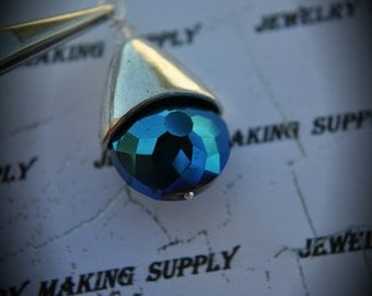 Hand Wire Wrapped Swarovski Crystals Dangle Charm on Silver Plated ball Headpin And Metallic Blue AAA Glass Beads