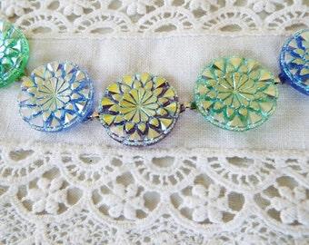 Czech Glass Button Bracelet in Gorgeous Summer Colors