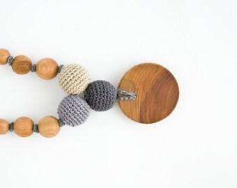 Petite Trio Nursing Necklace - Applewood, Gray, Beige - Mum Necklace, Breastfeeding, Babywearing, Baby Teether, FrejaToys