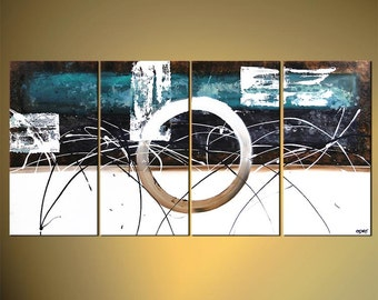 """Teal Contemporary Abstract Painting, Original modern white painting on Canvas by Osnat - MADE-TO-ORDER - 60""""x30"""""""