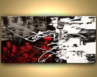 "Modern 48"" x 24"" Abstract  Painting  Black White Red Acrylic Painting Texture by Osnat"