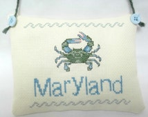 Maryland Blue Crab Cross Stitched Hanging Pillow . Chesapeake . Nautical MADE TO ORDER