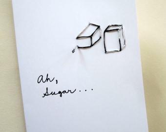 Sugar, Romantic Card, card, black, white, Ah Sugar, embroidery, sewing, sweet, Valentine, valentines