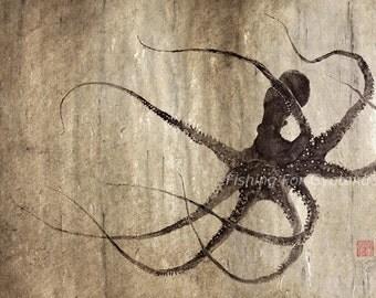 LEVIATHAN OCTOPUS gyotaku print - traditional Japanese fish art - by dowaito