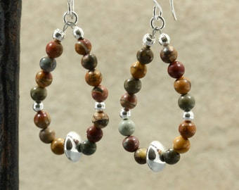 Red Creek Jasper Loop Earrings with Sterling Silver, Red Creek Jasper Earrings, Southwestern Earrings, Southwestern Jewelry