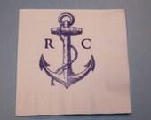 50 Anchor PAPER NAPKINS Nautical Wedding Decor Initials Mr. and Mrs. Nautical Baby Shower Decor Nautical Wedding Anchor Theme Personalized