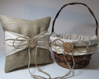 Rustic Flower Girl Basket and Ring Bearer Pillow - Personalized For Your Wedding Day