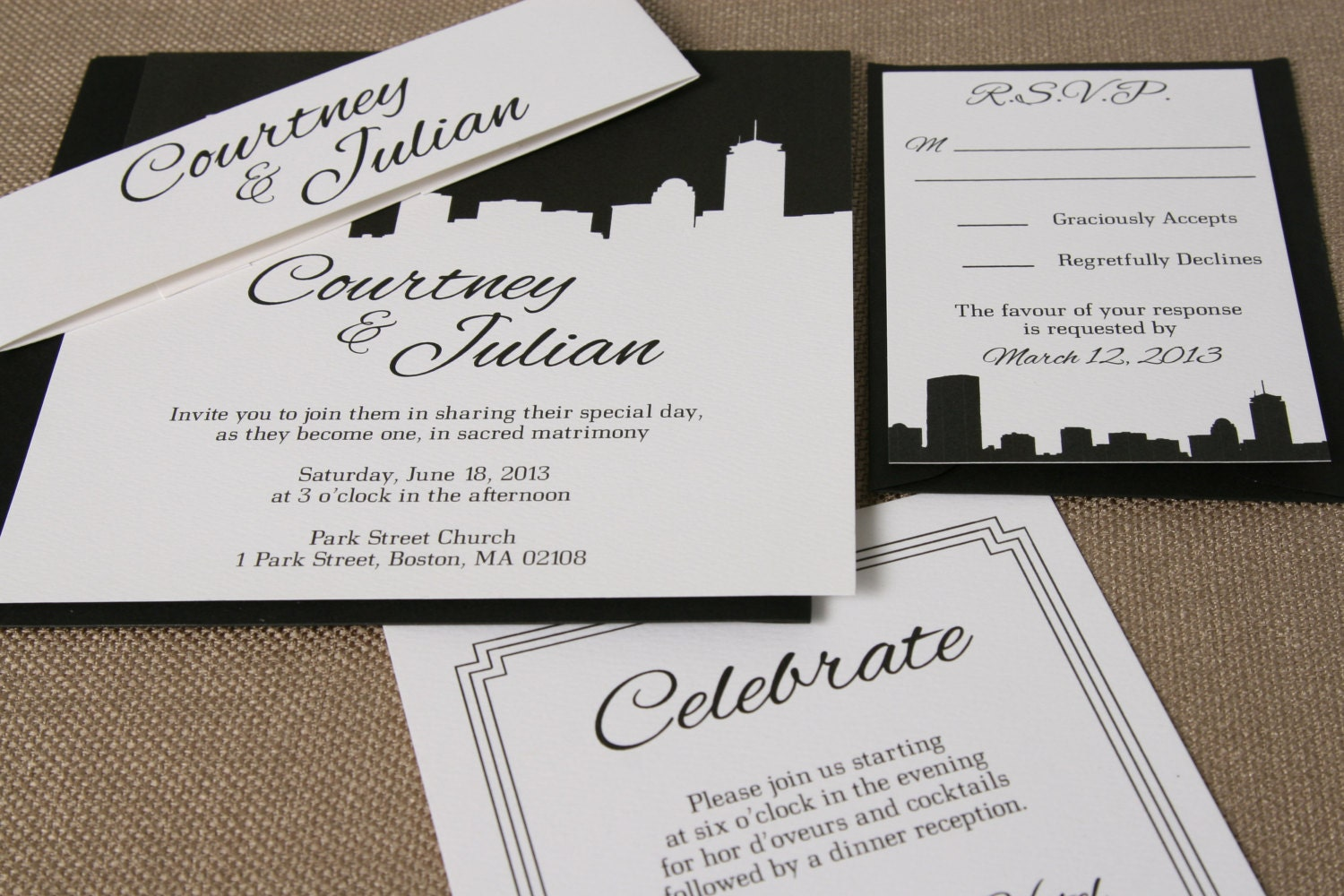 boston skyline wedding invitation suite black and white