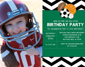 Sports Birthday Invitation - Colors can be Customized!