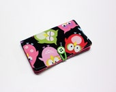 Pink Green Blue Owls Fabric Business Card Holder, with White Small Dots on Pink - Credit Card Holder, Cloth Card Holder, Gift Card Holder