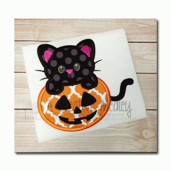 Pumpkin kitty applique embroidery design for Pumpkin kitty designs