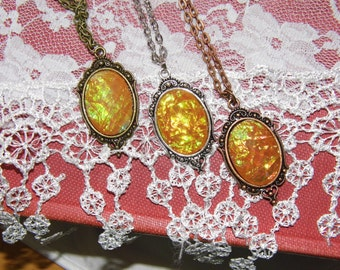Petite Moonstone Opal Victorian Vintage Inspired necklace with chain Christmas gift AMBER