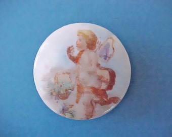 Beautiful Victorian Era Hand Painted Porcelain Button Stud with Little Angel