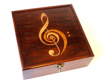 Music Lovers Woodburned Memory Chest:  Handcrafted, Handfinished with Accurate Sheet Music