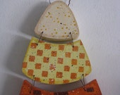 Candy Corn, stained,  fall, handpainted, handmade,  orange, yellow, white, wired together
