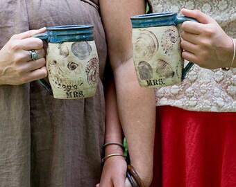 Beachcomber Personalized Mrs. and Mrs. Ceramic Coffee Mugs-Gay Couple Same Sex Couple Wedding