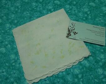 Vintage White, Blue, and Green Floral hanky, hankerchief for Wedding hanky, bridal hanky, vintage hanky, Spring, Easter by MarlenesAttic