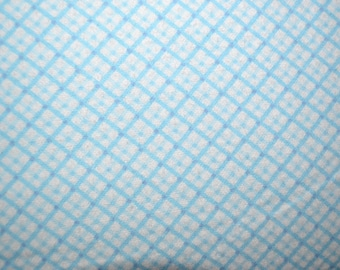 Diagonal Blue Plaid Snuggle Flannel Fabric - by the yard - quilting and sewing fabric - all cotton - boys