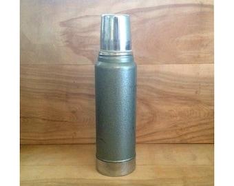 Vintage Aladdin Stanley Vacuum Bottle - Metal Silver Gray Green Sage Camping - 1950s