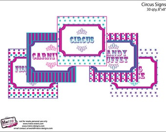 Carnival Party Signs, Pink, Purple & Teal