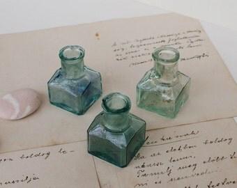 Antique Glass Ink Bottles pt.2 - Vintage Green Ink Bottles - Set of 3 - 1950's