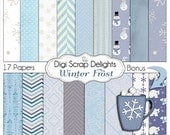 Frozen Digital Papers for Snow Scrapbooking Snowman, Snow Flakes, Cocoa, Instant Download