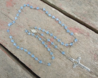 Light Blue Faceted Glass Bead Rosary Necklace Crystal Beads