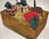 Apple Harvest Crate, Fabric Apples in Wood Crate, Fall Harvest Box of Apples, Autumn Thanksgiving Decor